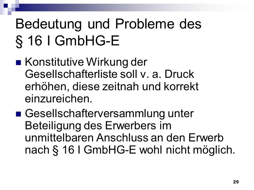 29 Bedeutung und Probleme des § 16 I GmbHG-E Konstitutive Wirkung der Gesellschafterliste soll v. a. Druck erhöhen, diese zeitnah und korrekt einzurei