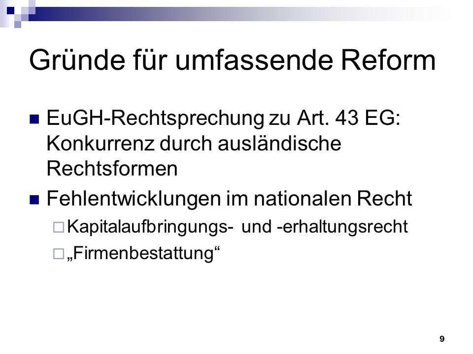 9 Gründe für umfassende Reform EuGH-Rechtsprechung zu Art. 43 EG: Konkurrenz durch ausländische Rechtsformen Fehlentwicklungen im nationalen Recht Kap