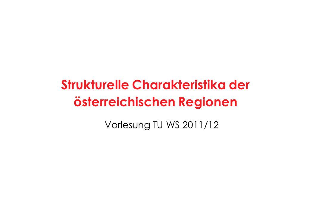 30 Charakteristika Großstädte Graz, Klagenfurt, Linz, Salzburg, Innsbruck Werte 2001Bezirke RegionstypÖsterreich = 100 Einwohner Ø151.189186 Bevölkerungsdichte1.538642 Erwerbstätige Ø110.304306 Wirtschaftsstruktur (Anteil ErwT %) Agrarsektor0,410 Produktionssektor20,775 Industrie13,774 davon technologieorientiert34,0138 Dienstleistungssektor78,9116 Handel, Verkehr, Nachrichten16,799 Tourismus4,170 Unternehmensdienste12,8143 Öffentliche, pers., soz.