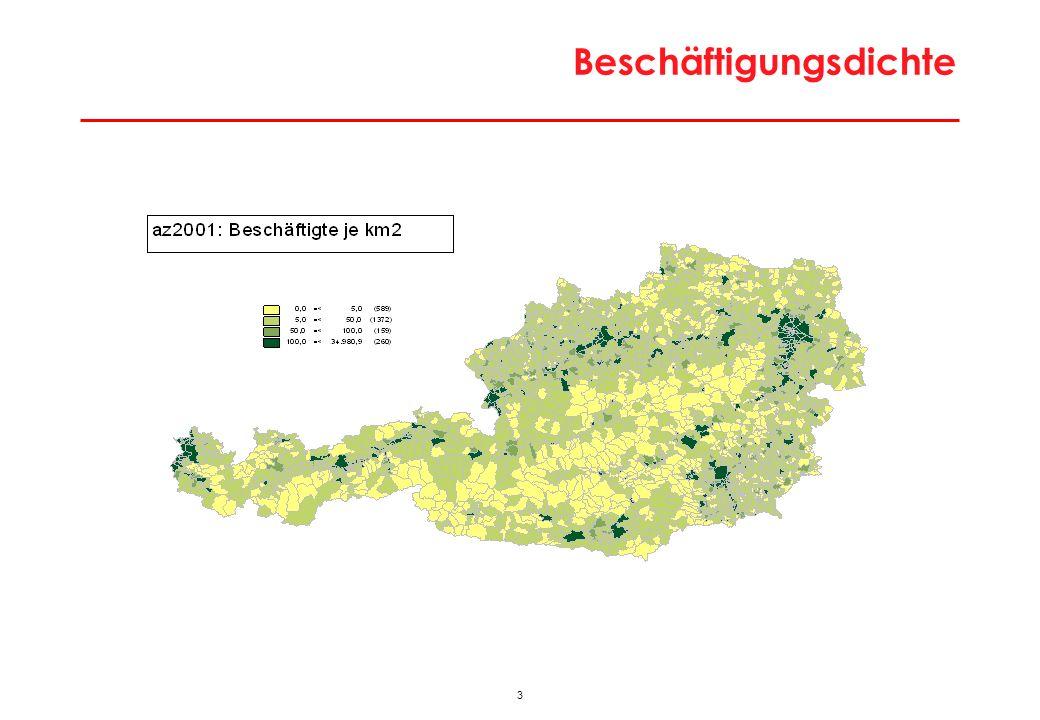 33 Wirtschaftsregionen: Mittelstädte Krems, St.Pölten, Wiener Neustadt, Eisenstadt incl.
