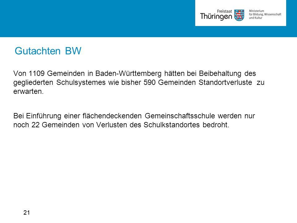 21 Gutachten BW Von 1109 Gemeinden in Baden-Württemberg hätten bei Beibehaltung des gegliederten Schulsystemes wie bisher 590 Gemeinden Standortverluste zu erwarten.