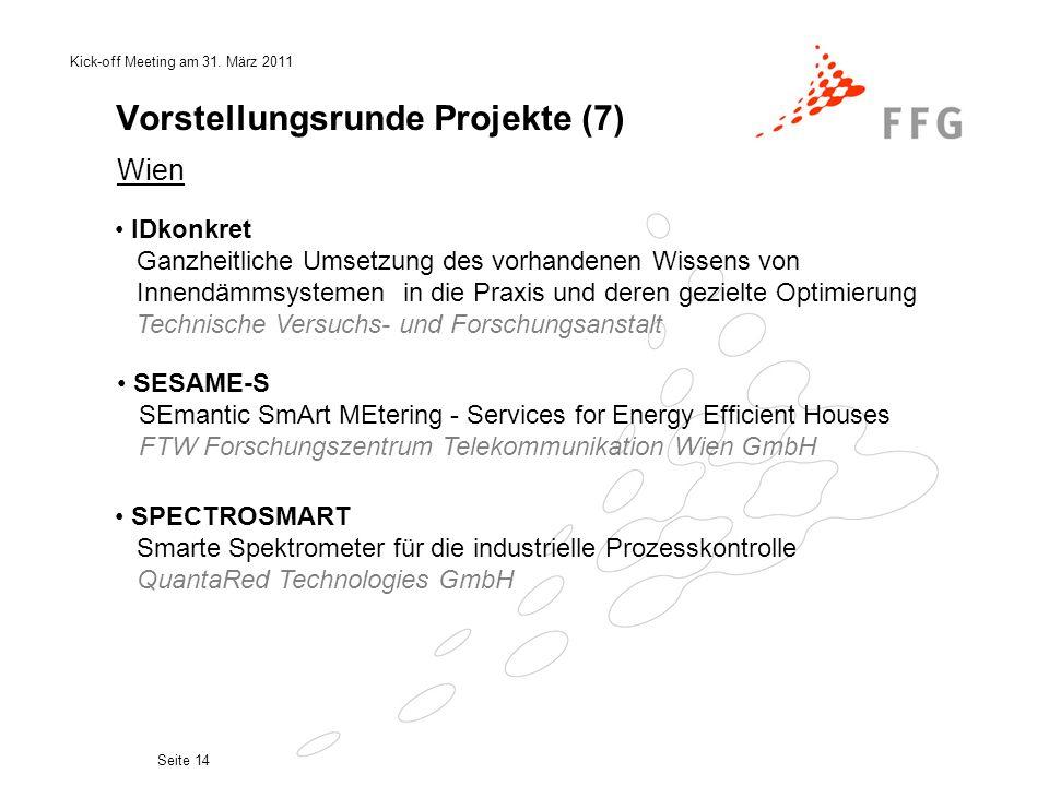Kick-off Meeting am 31. März 2011 Seite 14 Vorstellungsrunde Projekte (7) Wien IDkonkret Ganzheitliche Umsetzung des vorhandenen Wissens von Innendämm