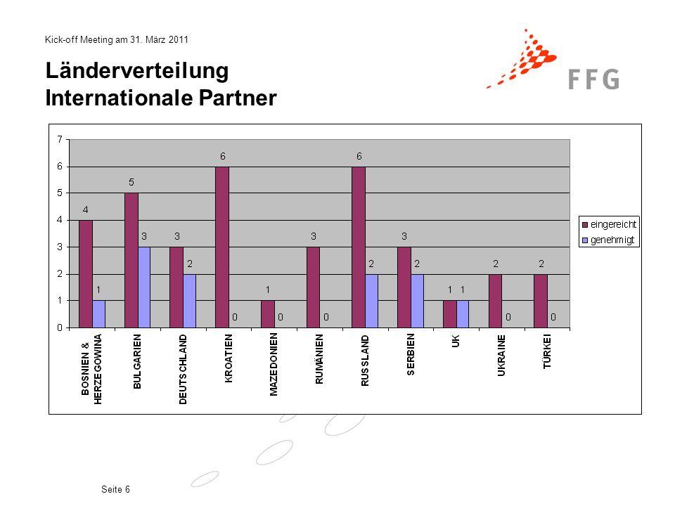 Kick-off Meeting am 31. März 2011 Seite 6 Länderverteilung Internationale Partner
