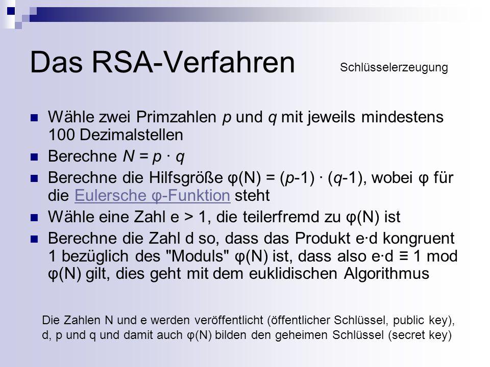 Das RSA-Verfahren Angriffsmöglichkeiten: BruteForce-Attacke (aussichtslos) Primfaktorzerlegung von n um auf d zu schließen (bei n >= 1000 Bits aussichtslos)