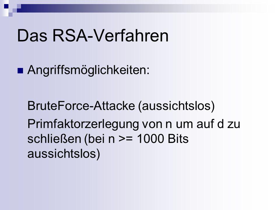 Knacken des RSA-Verfahrens Zahlen p, q und d sind geheim und lassen sich nur mit sehr hohem Aufwand aus n und e berechnen: