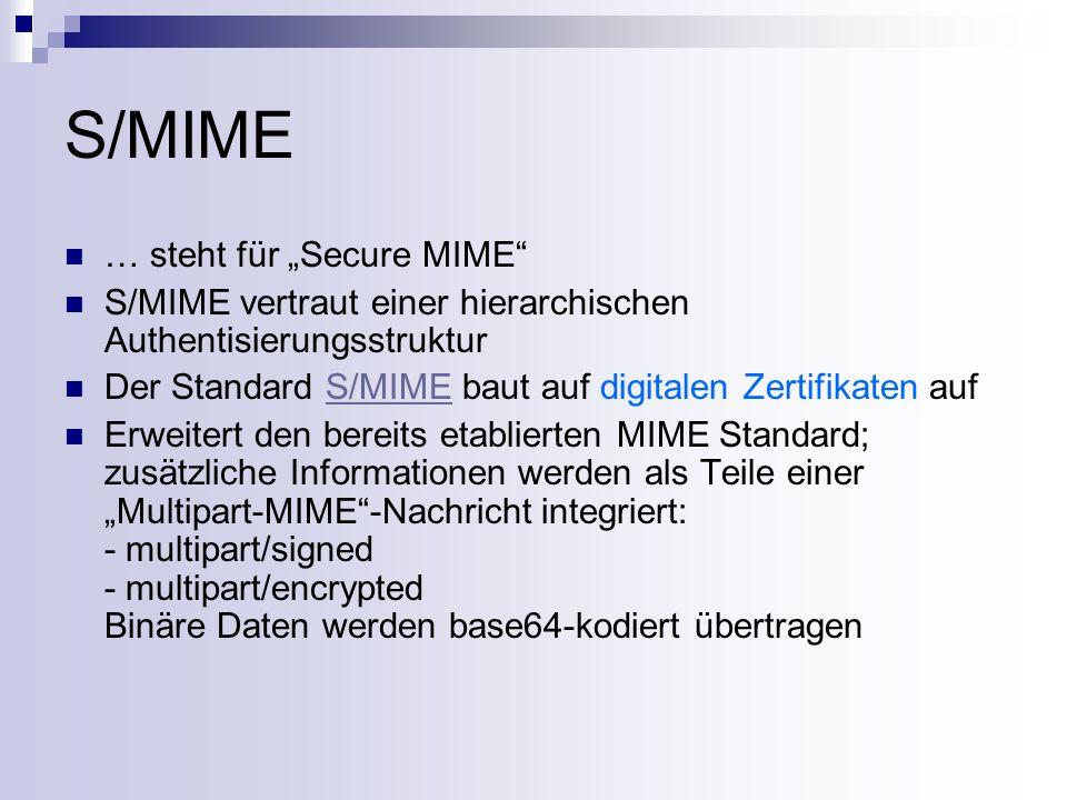 S/MIME – Aufbau einer Nachricht Content-Type: multipart/ type ; boundary= Boundary Content-Transfer-Encoding: base64 --Boundary encryption info --Boundary message --Boundary signature --Boundary--