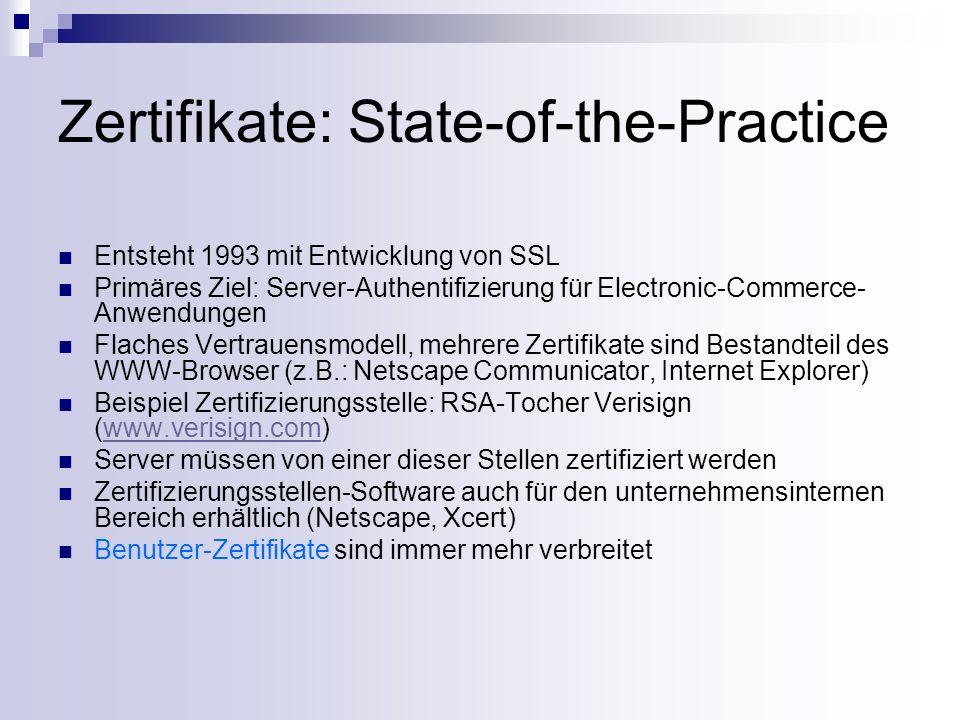 Zertifikate: State-of-the-Practice Entsteht 1993 mit Entwicklung von SSL Primäres Ziel: Server-Authentifizierung für Electronic-Commerce- Anwendungen