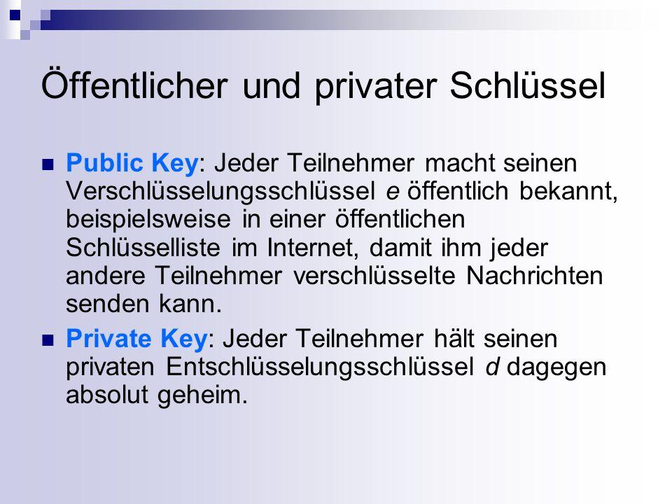 Public Key Kryptographie Eine mit einem Public Key verschlüsselte Nachricht kann nur mit zugehörigem Private Key entschlüsselt werden.