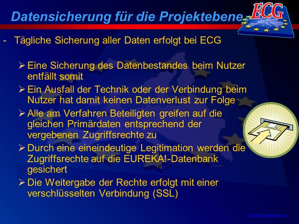 © ECG GmbH Berlin -Tägliche Sicherung aller Daten erfolgt bei ECG Eine Sicherung des Datenbestandes beim Nutzer entfällt somit Ein Ausfall der Technik