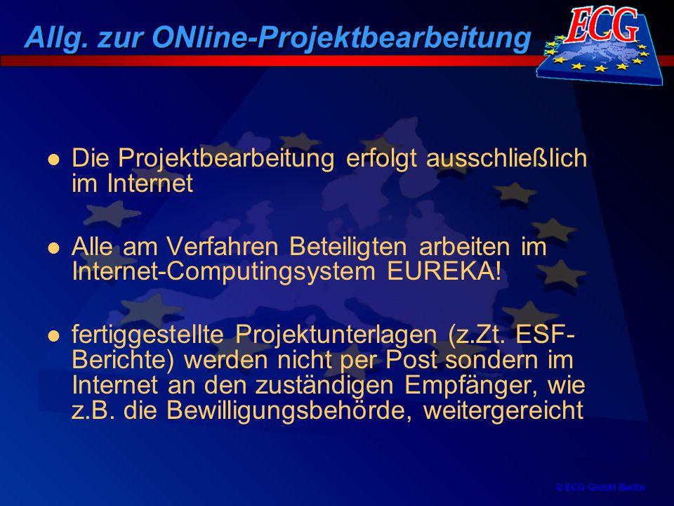 © ECG GmbH Berlin Bearbeitungsphasen Ein ESF-Projekt durchläuft verschiedene Online-Bearbeitungsphasen bei allen Beteiligten Der Bearbeitungszustand wird durch einen Status gekennzeichnet, der für jeden am Verfahren Beteiligten sichtbar ist Unterstützt wird der Bearbeitungsablauf durch E-Mail-Nachrichten bei Änderung eines Bearbeitungszustandes Ablauf der Projektbearbeitung