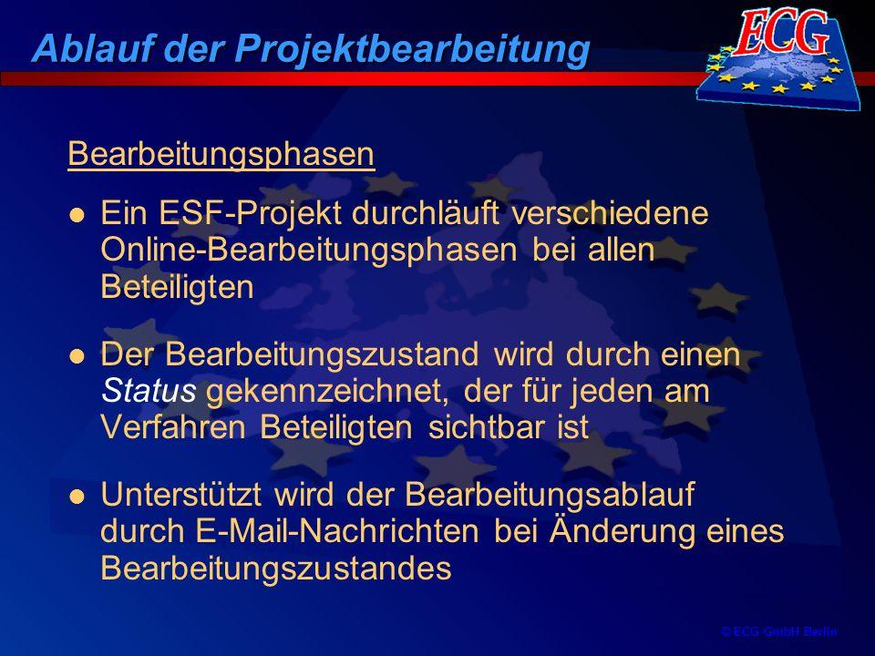 © ECG GmbH Berlin Bearbeitungsphasen Ein ESF-Projekt durchläuft verschiedene Online-Bearbeitungsphasen bei allen Beteiligten Der Bearbeitungszustand w