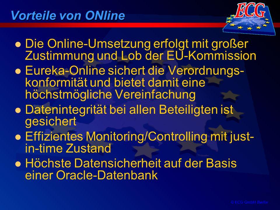 © ECG GmbH Berlin Vorteile von ONline Bei laufenden ESF-Projekten sind bereits eingereichte Zwischenberichte in Online vorhanden (keine Doppelarbeit) Berichtsunterlagen sind zu legitimieren und an die Bewilligungsbehörde in EUREKA.