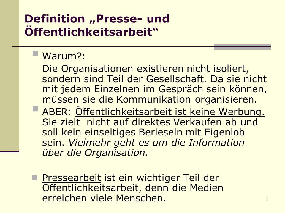 4 Definition Presse- und Öffentlichkeitsarbeit Warum?: Die Organisationen existieren nicht isoliert, sondern sind Teil der Gesellschaft.
