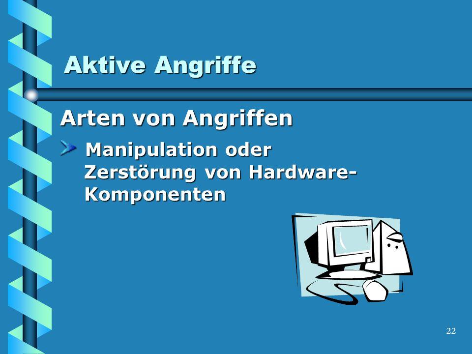 22 Aktive Angriffe Arten von Angriffen Manipulation oder Zerstörung von Hardware- Komponenten Manipulation oder Zerstörung von Hardware- Komponenten