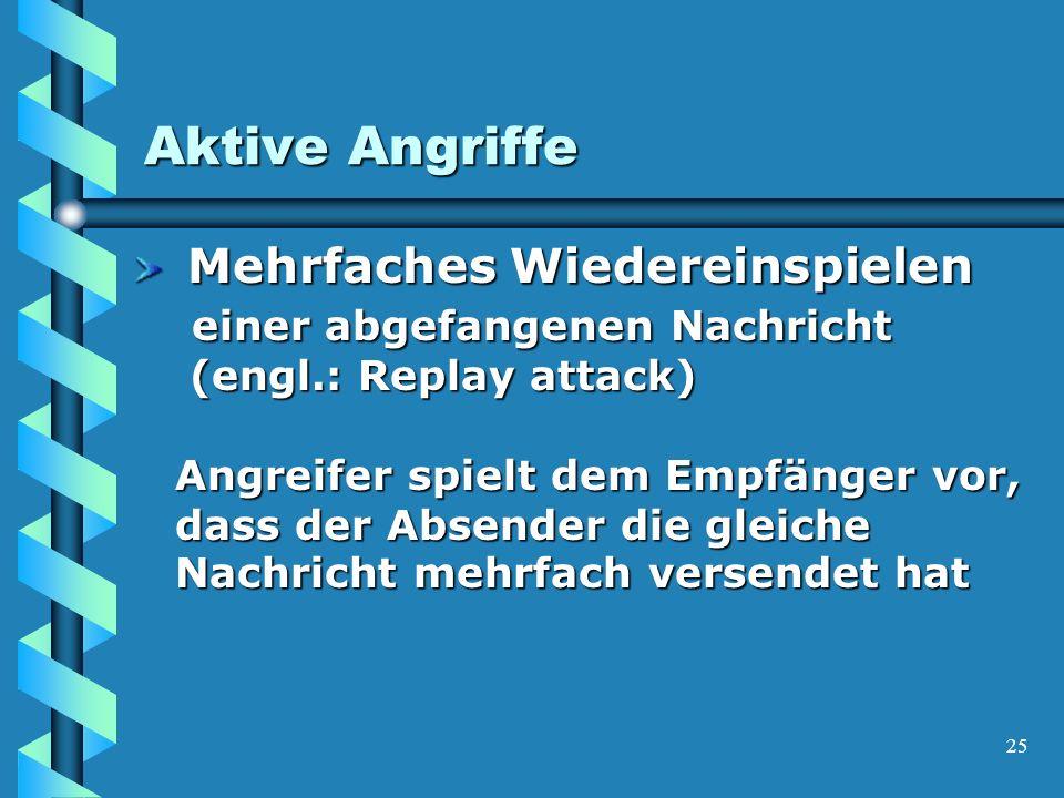 25 Aktive Angriffe Mehrfaches Wiedereinspielen einer abgefangenen Nachricht (engl.: Replay attack) Angreifer spielt dem Empfänger vor, dass der Absender die gleiche Nachricht mehrfach versendet hat Mehrfaches Wiedereinspielen einer abgefangenen Nachricht (engl.: Replay attack) Angreifer spielt dem Empfänger vor, dass der Absender die gleiche Nachricht mehrfach versendet hat