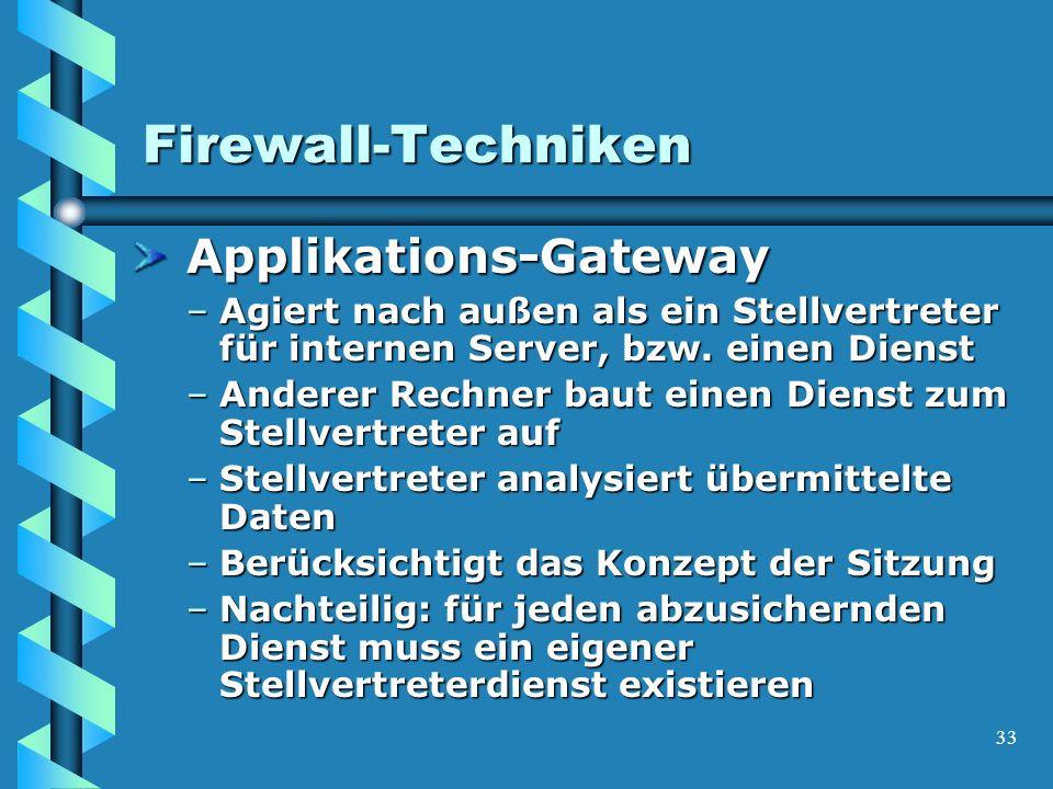 33 Firewall-Techniken Applikations-Gateway Applikations-Gateway –Agiert nach außen als ein Stellvertreter für internen Server, bzw.