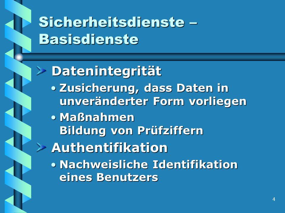 4 Sicherheitsdienste – Basisdienste Datenintegrität Datenintegrität Zusicherung, dass Daten in unveränderter Form vorliegenZusicherung, dass Daten in unveränderter Form vorliegen Maßnahmen Bildung von PrüfziffernMaßnahmen Bildung von Prüfziffern Authentifikation Authentifikation Nachweisliche Identifikation eines BenutzersNachweisliche Identifikation eines Benutzers