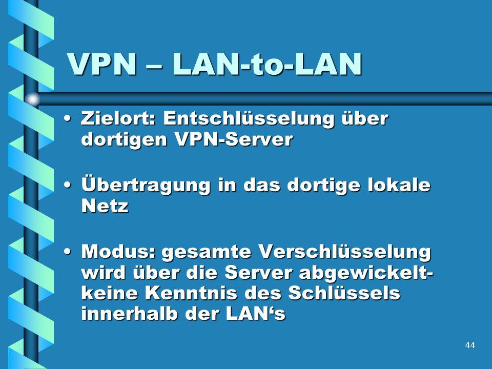 44 VPN – LAN-to-LAN Zielort: Entschlüsselung über dortigen VPN-ServerZielort: Entschlüsselung über dortigen VPN-Server Übertragung in das dortige lokale NetzÜbertragung in das dortige lokale Netz Modus: gesamte Verschlüsselung wird über die Server abgewickelt- keine Kenntnis des Schlüssels innerhalb der LANsModus: gesamte Verschlüsselung wird über die Server abgewickelt- keine Kenntnis des Schlüssels innerhalb der LANs
