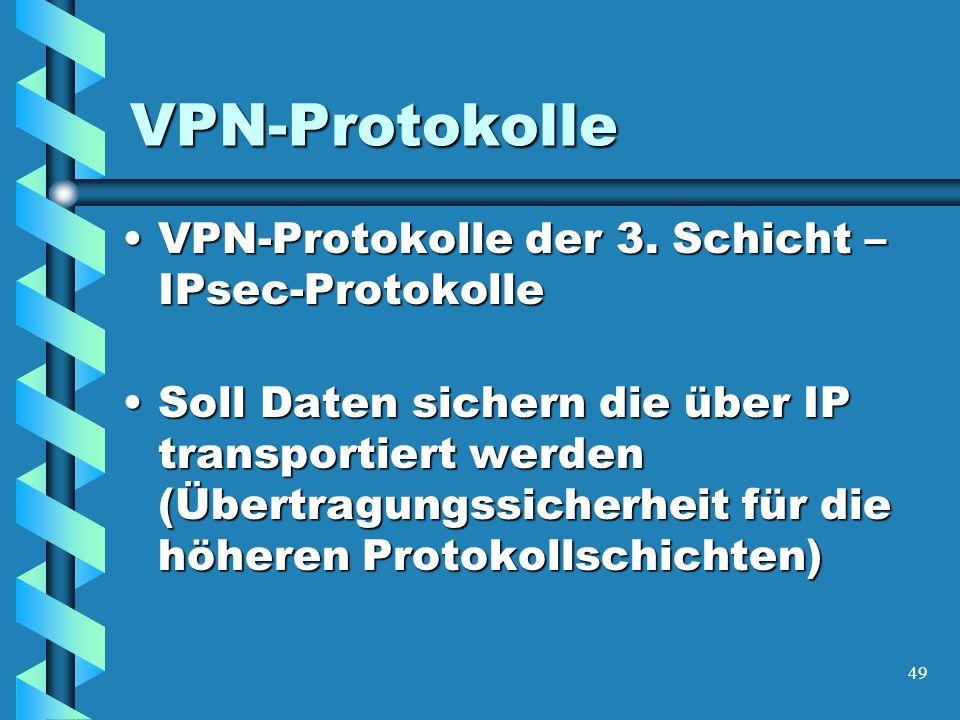 49 VPN-Protokolle VPN-Protokolle der 3. Schicht – IPsec-ProtokolleVPN-Protokolle der 3.