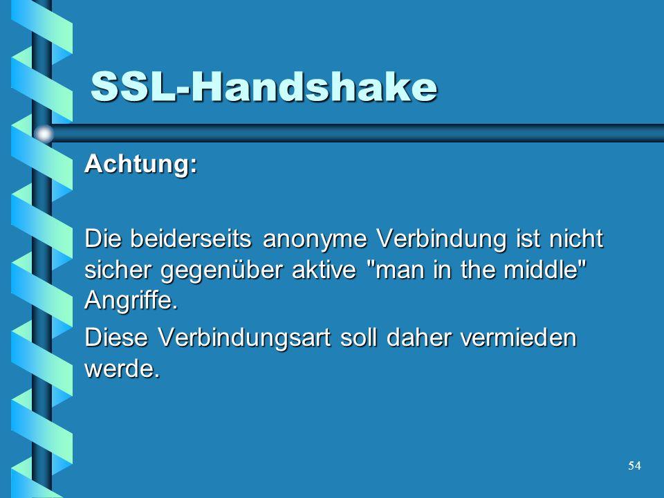 54 SSL-Handshake Achtung: Die beiderseits anonyme Verbindung ist nicht sicher gegenüber aktive man in the middle Angriffe.