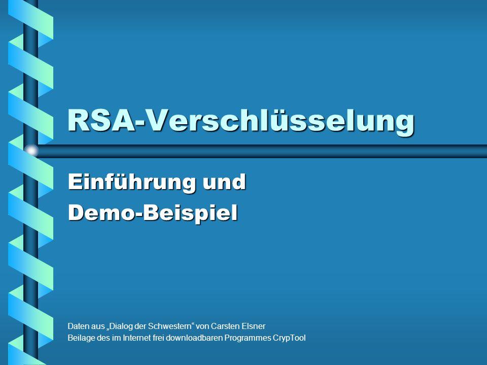 RSA-Verschlüsselung Einführung und Demo-Beispiel Daten aus Dialog der Schwestern von Carsten Elsner Beilage des im Internet frei downloadbaren Programmes CrypTool
