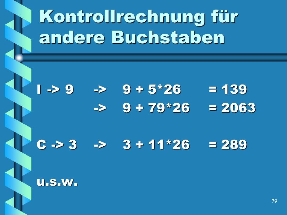 79 Kontrollrechnung für andere Buchstaben I->9->9 + 5*26= 139 ->9 + 79*26= 2063 C -> 3->3 + 11*26= 289 u.s.w.