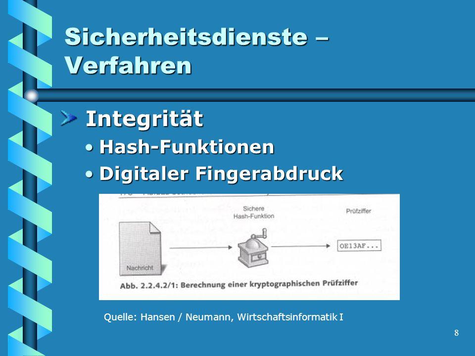 8 Sicherheitsdienste – Verfahren Integrität Integrität Hash-FunktionenHash-Funktionen Digitaler FingerabdruckDigitaler Fingerabdruck Quelle: Hansen / Neumann, Wirtschaftsinformatik I