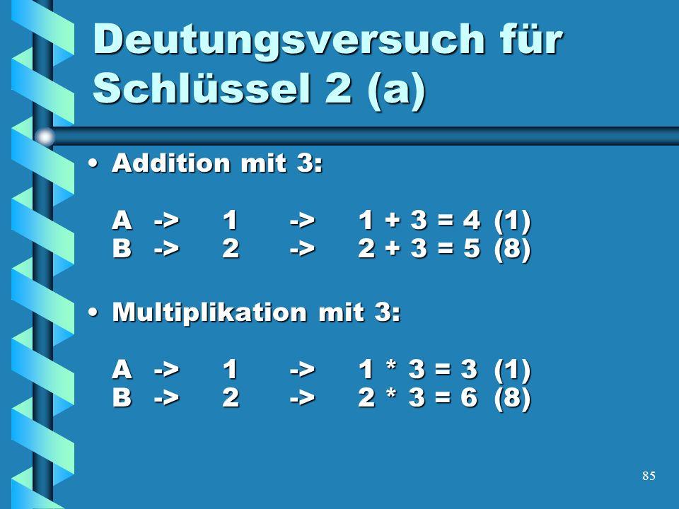 85 Deutungsversuch für Schlüssel 2 (a) Addition mit 3: A->1->1 + 3 = 4 (1) B->2->2 + 3 = 5(8)Addition mit 3: A->1->1 + 3 = 4 (1) B->2->2 + 3 = 5(8) Multiplikation mit 3: A->1->1 * 3 = 3 (1) B->2->2 * 3 = 6(8)Multiplikation mit 3: A->1->1 * 3 = 3 (1) B->2->2 * 3 = 6(8)