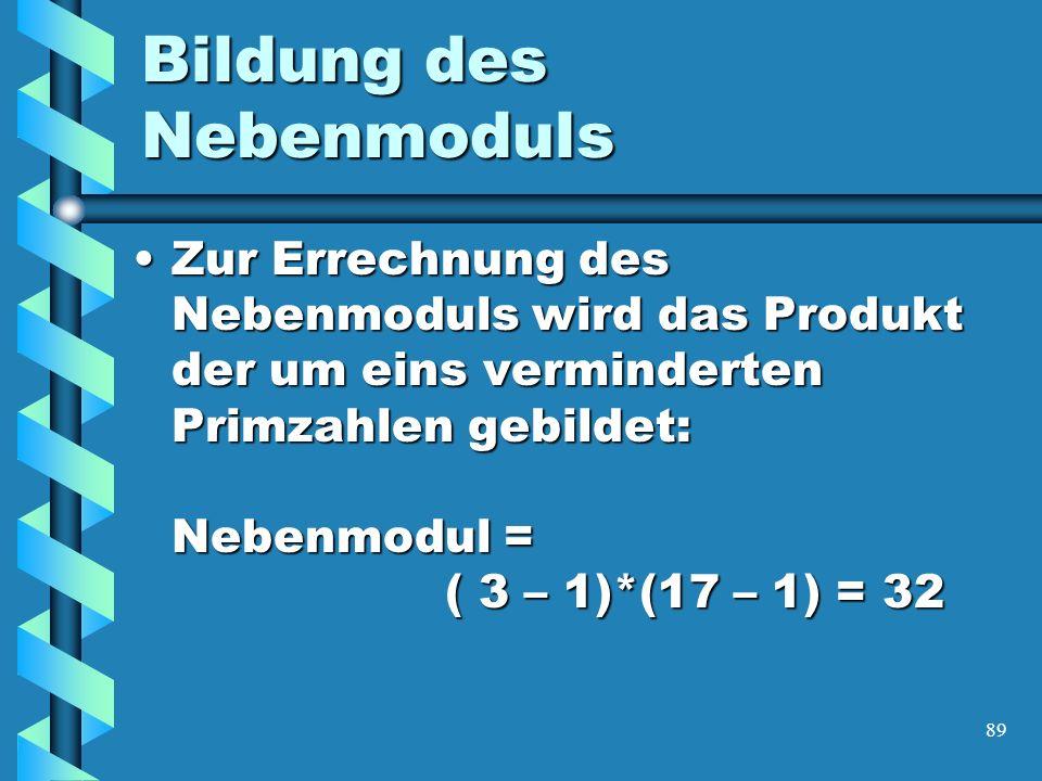 89 Bildung des Nebenmoduls Zur Errechnung des Nebenmoduls wird das Produkt der um eins verminderten Primzahlen gebildet: Nebenmodul = ( 3 – 1)*(17 – 1) = 32Zur Errechnung des Nebenmoduls wird das Produkt der um eins verminderten Primzahlen gebildet: Nebenmodul = ( 3 – 1)*(17 – 1) = 32