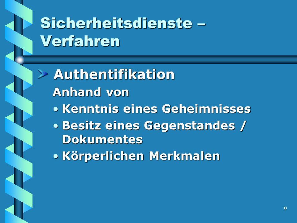 9 Sicherheitsdienste – Verfahren Authentifikation Authentifikation Anhand von Kenntnis eines GeheimnissesKenntnis eines Geheimnisses Besitz eines Gegenstandes / DokumentesBesitz eines Gegenstandes / Dokumentes Körperlichen MerkmalenKörperlichen Merkmalen