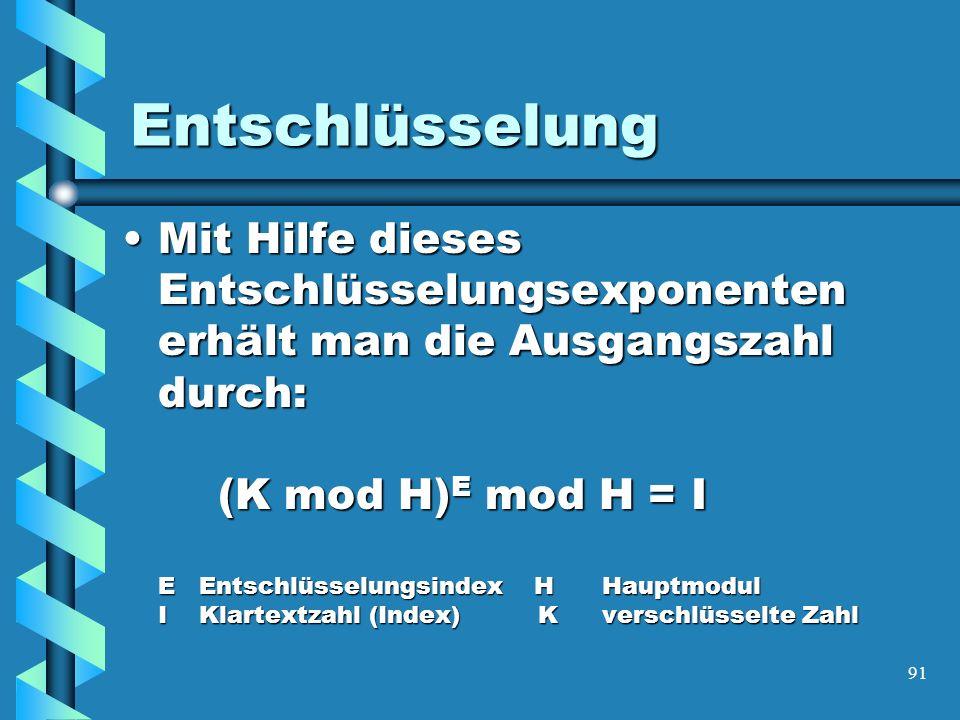 91 Entschlüsselung Mit Hilfe dieses Entschlüsselungsexponenten erhält man die Ausgangszahl durch: (K mod H) E mod H = I E Entschlüsselungsindex HHauptmodul I Klartextzahl (Index) Kverschlüsselte ZahlMit Hilfe dieses Entschlüsselungsexponenten erhält man die Ausgangszahl durch: (K mod H) E mod H = I E Entschlüsselungsindex HHauptmodul I Klartextzahl (Index) Kverschlüsselte Zahl