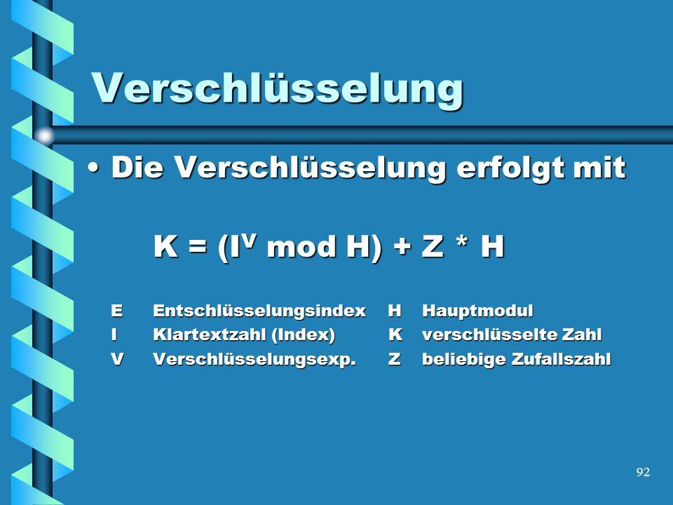92 Verschlüsselung Die Verschlüsselung erfolgt mitDie Verschlüsselung erfolgt mit K = (I V mod H) + Z * H E Entschlüsselungsindex HHauptmodul I Klartextzahl (Index) Kverschlüsselte Zahl I Klartextzahl (Index) Kverschlüsselte Zahl VVerschlüsselungsexp.