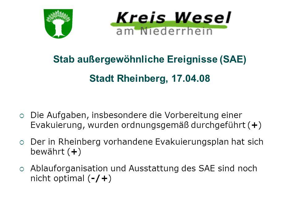 Die Aufgaben, insbesondere die Vorbereitung einer Evakuierung, wurden ordnungsgemäß durchgeführt (+) Der in Rheinberg vorhandene Evakuierungsplan hat