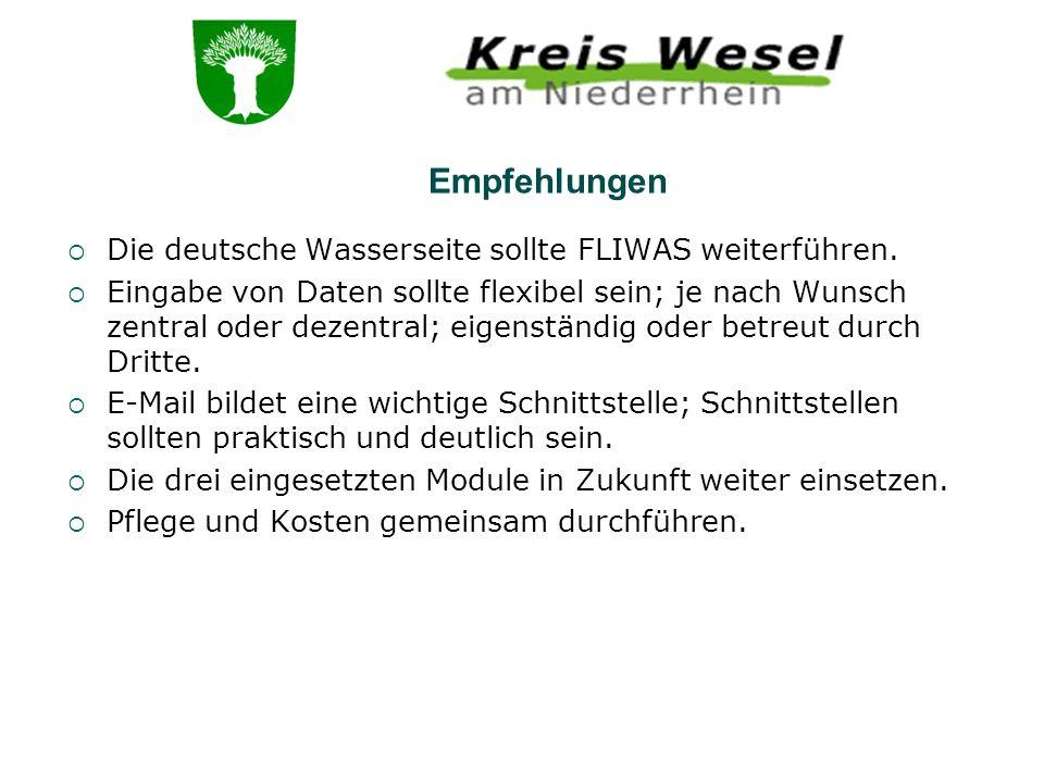 Die deutsche Wasserseite sollte FLIWAS weiterführen. Eingabe von Daten sollte flexibel sein; je nach Wunsch zentral oder dezentral; eigenständig oder