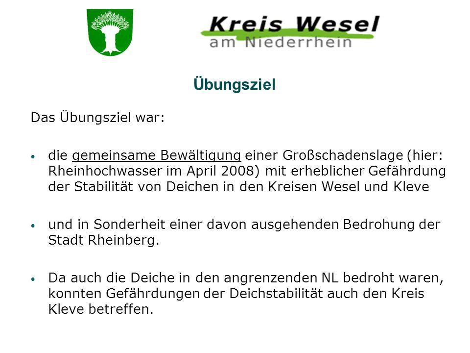 Übungsziel Das Übungsziel war: die gemeinsame Bewältigung einer Großschadenslage (hier: Rheinhochwasser im April 2008) mit erheblicher Gefährdung der