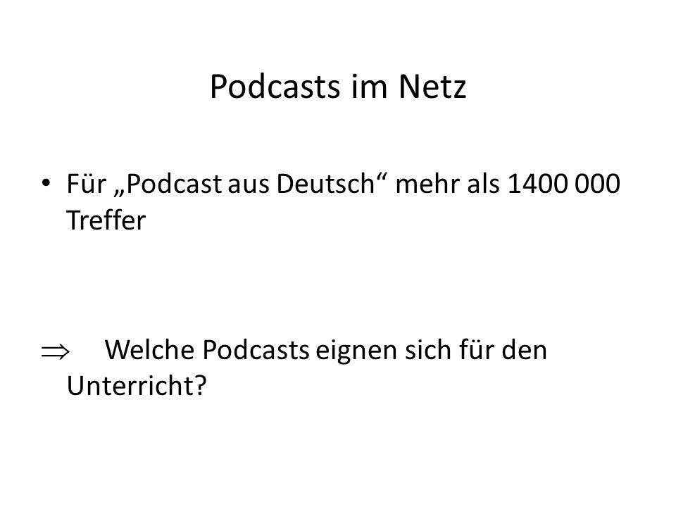Podcasts im Netz Für Podcast aus Deutsch mehr als 1400 000 Treffer Welche Podcasts eignen sich für den Unterricht?