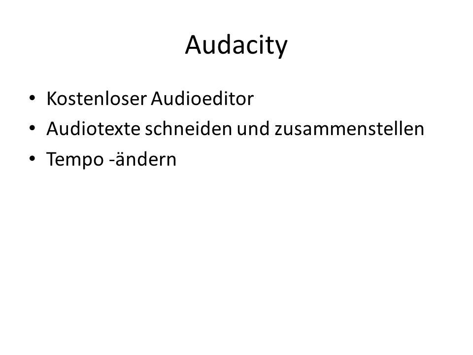 Audacity Kostenloser Audioeditor Audiotexte schneiden und zusammenstellen Tempo -ändern
