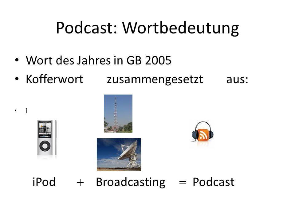Podcast: Wortbedeutung Wort des Jahres in GB 2005 Kofferwort zusammengesetzt aus: ] iPod Broadcasting Podcast
