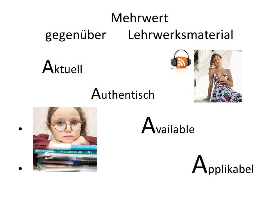 Mehrwert gegenüber Lehrwerksmaterial A ktuell A uthentisch A vailable A pplikabel