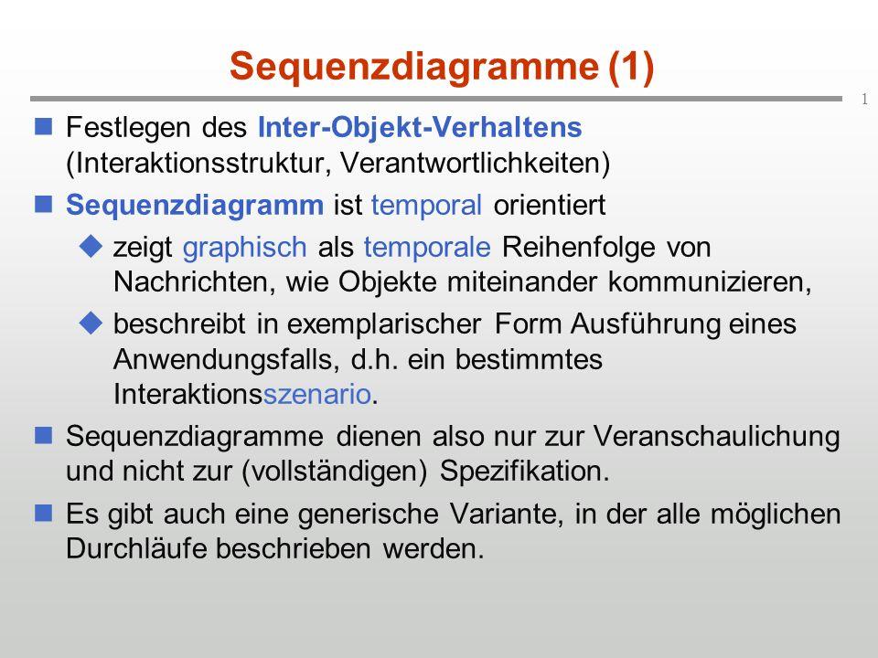 1 Sequenzdiagramme (1) Festlegen des Inter-Objekt-Verhaltens (Interaktionsstruktur, Verantwortlichkeiten) Sequenzdiagramm ist temporal orientiert zeig