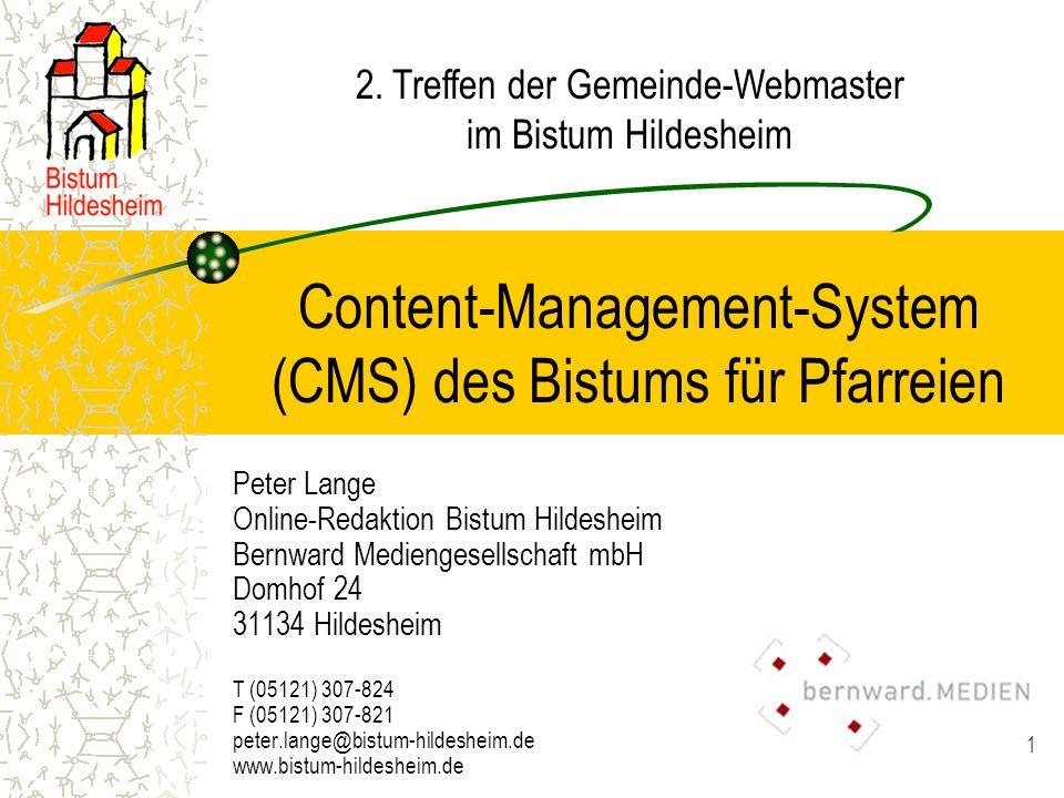 22 CMS für Pfarreien Beispiel: www.sankt-augustinus- hannover.de