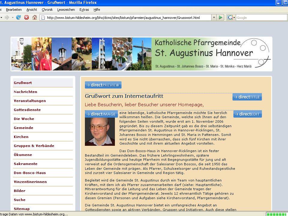 12 CMS für Pfarreien Seiteneditor: –Aufruf über Explorer oder die zu bearbeitende Seite (directEDIT) –Veränderungen direkt publizieren (Administratoren, Projektmanager) oder nur speichern (Redakteure)