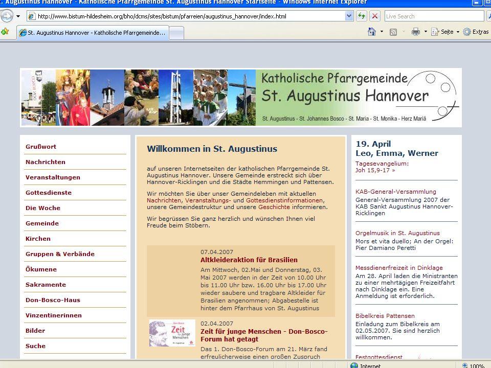 15 CMS für Pfarreien Beispiel: www.sankt-augustinus- hannover.de
