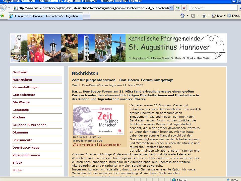 16 CMS für Pfarreien Beispiel: www.sankt-augustinus- hannover.de
