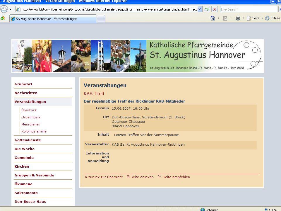 17 CMS für Pfarreien Beispiel: www.sankt-augustinus- hannover.de