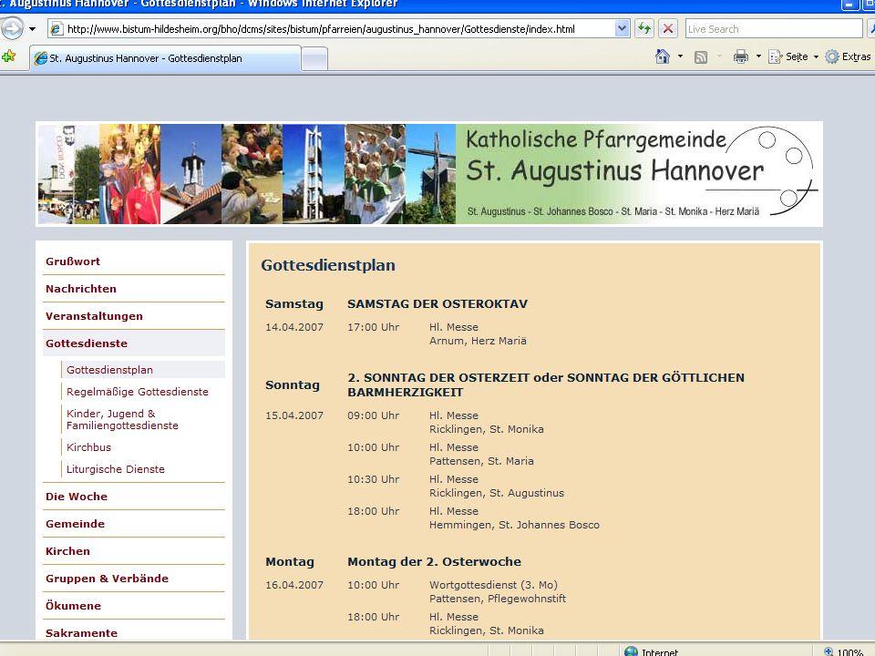 18 CMS für Pfarreien Beispiel: www.sankt-augustinus- hannover.de