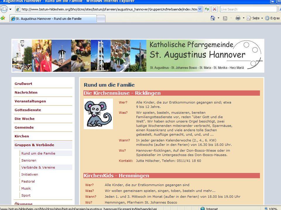19 CMS für Pfarreien Beispiel: www.sankt-augustinus- hannover.de