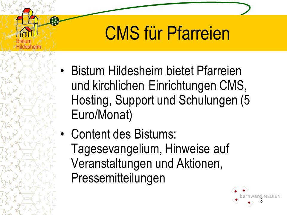 4 CMS für Pfarreien Aufbau des Systems: –Statische Inhalte werden mit dem Explorer verwaltet.