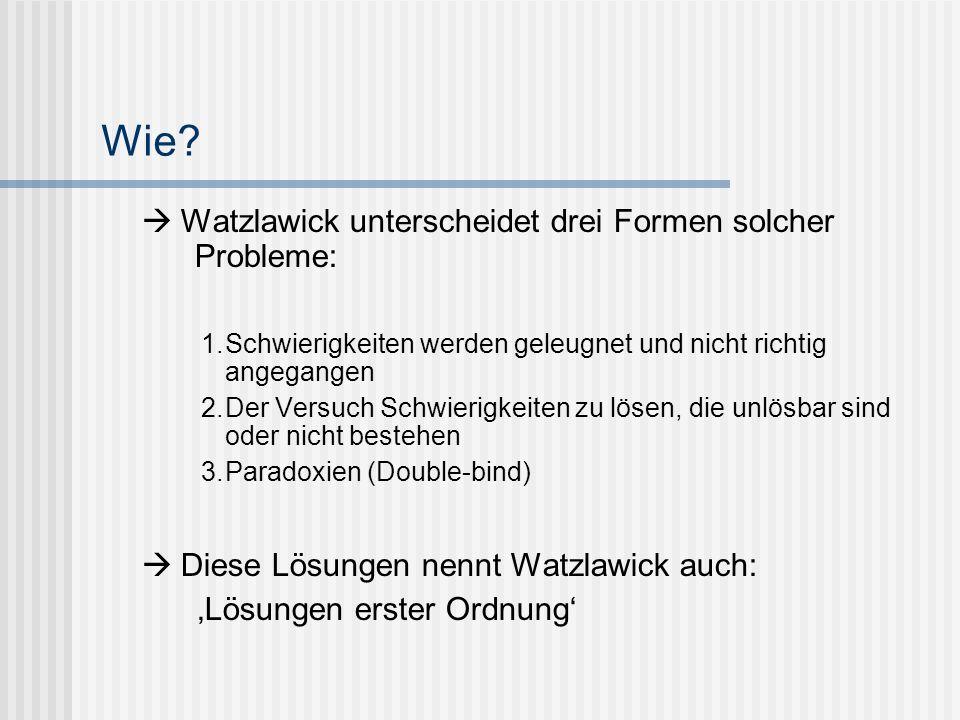 Wie? Watzlawick unterscheidet drei Formen solcher Probleme: 1.Schwierigkeiten werden geleugnet und nicht richtig angegangen 2.Der Versuch Schwierigkei