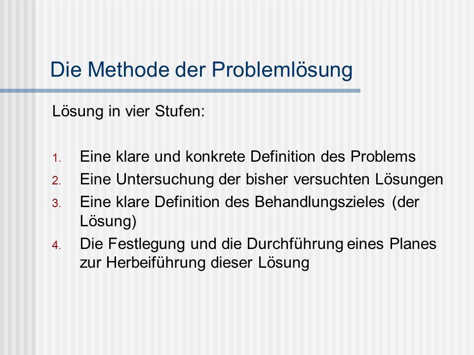 Die Methode der Problemlösung Lösung in vier Stufen: 1. Eine klare und konkrete Definition des Problems 2. Eine Untersuchung der bisher versuchten Lös